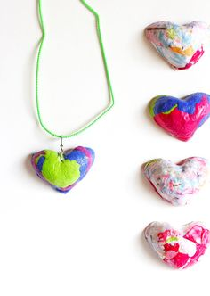 Paper Pulp Heart Pendants