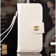 Coque Cuir iPhone 6 Chanel,portefeuille pour iPhone 6 4.7 pouce-blanc
