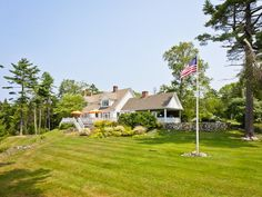 Nestled on 16 acres on Islesboro Island, the actress' Cape Cod-style home offers ocean views and an ultra-private location. Browse photos of #KirstieAlley's cozy getaway.
