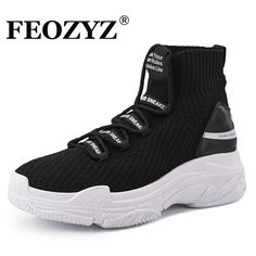 wholesale dealer c951e 235aa US  29.99 40% OFF FEOZYZ Sneakers Women Men Knit Upper Breathable Sport  Shoes Sock Boots Woman Chunky Shoes High Top Running Shoes For Men Women  -in Running ...
