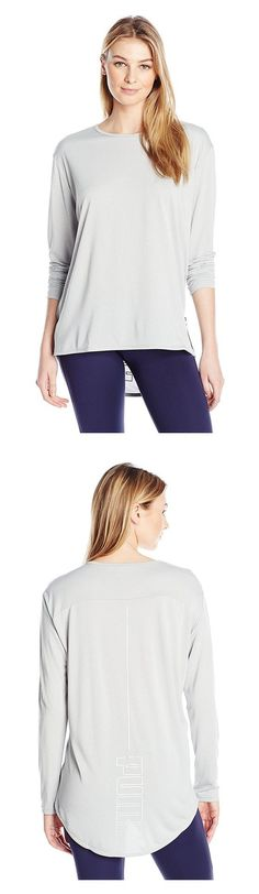 $21.99 - PUMA Women's Print Long SLeeve Top Light Gray Heather #puma