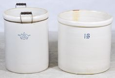 Lot 460: Blue Crown #12 and Unnamed #15 Crocks; Blue crown having wooden and wire handles