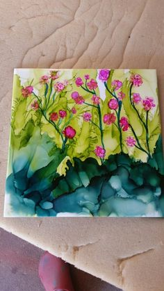 Spring - Alcohol ink on tile by Suzette by ashleyw Alcohol Ink Tiles, Alcohol Ink Crafts, Alcohol Ink Painting, Painting Lessons, Painting & Drawing, Ink In Water, Arte Popular, Oeuvre D'art, Painting Inspiration