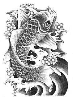 Koi Fish Grey scale drawing by -- Big Tattoo Planet Community Forum Koi Dragon Tattoo, Pez Koi Tattoo, Koi Tattoo Sleeve, Carp Tattoo, Koy Fish Tattoo, Japanese Koi Fish Tattoo, Koi Fish Drawing, Japanese Tattoo Designs, Fish Drawings