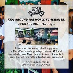 For the San Diego beer crew, head over to @boozebros next Sunday to raise money to build playgrounds in Costa Rica!! Be charitable by drinking beer!? Sounds like a win-win. Also some of my favorite beer in town!! #sandiego #sandiegoconnection #sdlocals #sandiegolocals - posted by The Beer Examiner https://www.instagram.com/thebeerexaminer. See more San Diego Beer at http://sdconnection.com