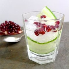 Featuring cucumber-infused gin and ruby-red pomegranate seeds, this cocktail is a spa trip in a glass! (By Carlene Thomas for Limn & Lovely)