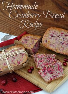 Recipe for Cranberry Quick Bread! Perfect for Thanksgiving! from HoosierHomemade.com