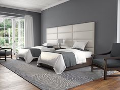 """The best thing to do after a long day of work and exhaustment is to jump in your comfortable contemporary bedroom and have a nap. Do you love this bedroom idea from @vantpanels?  Type: Twin - King Size Headboard - Packs Of 4  Color: Deluxe Leather Cream White  Size: 39"""" Wide x 11.5"""" Height"""