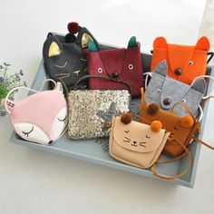 2017 Children bags Cute mini kids girls boys bags cartoon fox/cat/rabbit animal cloth/PU leather coin purses handbags for girls