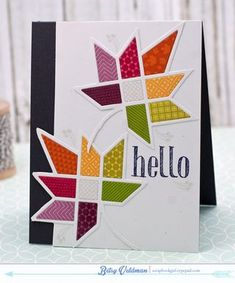 handmade greeting card Quilted-Leaf-Hello ... die cut quilt leafs using white lines and brightly colored patterned papers ... Paper Trey Ink ...