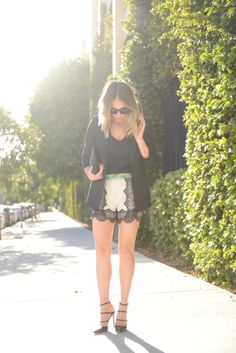 white lace shorts with a pop of color