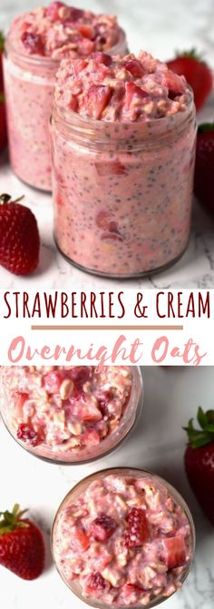Recipes Snacks On The Go Strawberries and Cream Overnight Oats take just a few minutes to make and are loaded with nutritious ingredients like oats, strawberries, Greek yogurt, chia seeds and milk for a healthy, filling breakfast! Overnight Oats Receita, Healthy Overnight Oats, Overnight Oats No Yogurt, Recipe For Overnight Oats, What Are Overnight Oats, Overnight Oats Protein Powder, Greek Yogurt Oatmeal, Strawberry Overnight Oats, Plain Yogurt