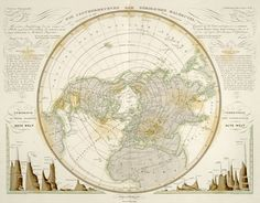 Heinrich Karl Wilhelm Berghaus atlas was considered a monumental achievement in thematic mapping history. This map uses a polar projected to map meteorology. Mean temperature in the Northern hemisphere by drawing isotherm lines at 5 degree intervals.