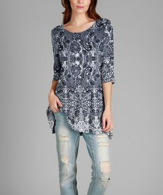 Love this Blue & White Arabesque Tunic - Plus by Simply Aster on #zulily! #zulilyfinds