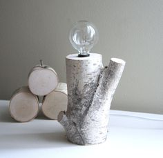 exposed bulb woodland lamp - natural white birch wood. $60.00, via Etsy.