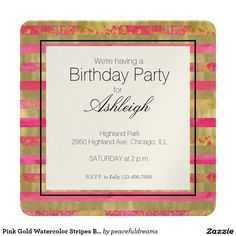 Pink Gold Watercolor Stripes Birthday Card