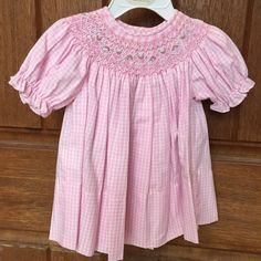 Easter Dress Pink Smocked Dress Pink Gingham by BabyBearChic