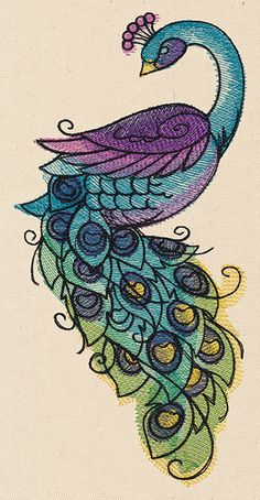 Painted Peacock | Urban Threads: Unique and Awesome Embroidery Designs