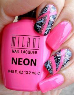 milani nail art Bright Pink Nail Art Designs and Ideas Bright Pink Nails, Pink Nail Art, Neon Nails, Cool Nail Art, Love Nails, My Nails, Style Nails, Nailart, Gel Nails At Home