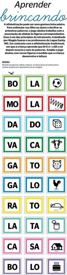Atividades para o ensino infantil: Aprender Brincando: Jogo de palavras