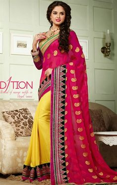 Butta Pink and Yellow Color Admirable Saree