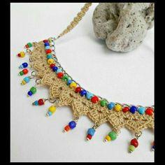 Neklace, Linen crochet l Crochet Diy, Art Au Crochet, Bead Crochet, Crochet Motif, Crochet Designs, Crochet Crafts, Crochet Projects, Diy Projects, Jewelry Making