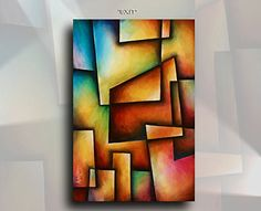 "Geometric Abstract Painting Original Mix Lang 24"" x 36"" Acrylic, C.O.A. Michael Lang http://www.amazon.com/dp/B0141FUPY0/ref=cm_sw_r_pi_dp_ZkK0vb0EM8GAN"