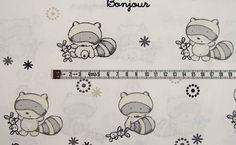 Stoff Tiermotive - Baumwolle Waschbär Bonjour Creme Grau 11264-0037 - ein Designerstück von Stoff-Schatzkiste bei DaWanda