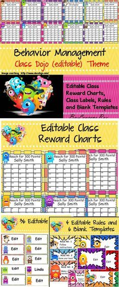This resource comprises of 38 editable Reward Charts, 36 editable class labels, 10 editable single page templates that can be used with Class Dojo. If you are not familiar with Class Dojo, learn more about it here: http://www.classdojo.com/ https://www.youtube.com/watch?v=KaeNSYJvrn0 (video)  It is an excellent free class management tool that works wonders.