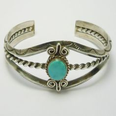 Sterling Turquoise Stamped Navajo Cuff Bracelet
