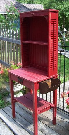 Red potting table Visit and Like our Facebook Page https://www.facebook.com/pages/Rustic-Farmhouse-Decor/636679889706127