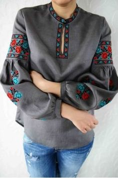 Embroidered Shirt / Ukrainian Shirt / Boho Chic Blouse / Vyshyvanka / Vita Kin Style Blouse / Linen Shirt / Embroidered Linen Blouse /Size M Folk Fashion, Ethnic Fashion, Womens Fashion, Batik Dress, Embroidered Clothes, Trendy Tops, Traditional Dresses, Blouse Designs, Boutiques