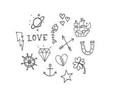 "Tiny Hand Drawn Stick n' Poke Temporary Tattoos - ""A Little Stick n' Poke"""