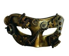 Keep your identity a mysterious puzzle with this enchanting Steampunk mask. With the appearance of industrial brass, this masque ball style mask is festooned with cogs, gears and mysterious mechanisms, making sure the mask fits with any Steampunk ensemble Steampunk Cosplay, Steampunk Mode, Steampunk Goggles, Steampunk Design, Gothic Steampunk, Steampunk Artwork, Steampunk Clothing, Thor Fancy Dress, Emoji Mask