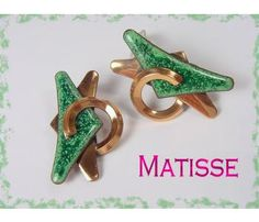 MATISSE ~ Copper Art Deco Green Enamel Modernist Clip Earrings - $39   www.FindMeTreasure.com