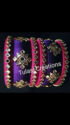 48 Super ideas for jewerly making ideas necklaces fabrics Silk Thread Bangles Design, Thread Jewellery, Fabric Jewelry, Kundan Bangles, Silk Bangles, Bridal Bangles, Beaded Necklace Patterns, Jewelry Patterns, Bangles Making