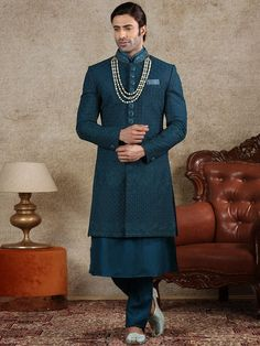 Western Dresses For Mens, Western Kurtis, Wedding Men, Green Wedding, Wedding Sherwani, Mens Sherwani, Party Wear Dresses, Teal Green, Silk Fabric