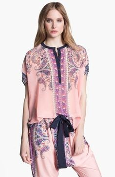 Clover Canyon Bohemian Scarf Print Top Pink Red Small