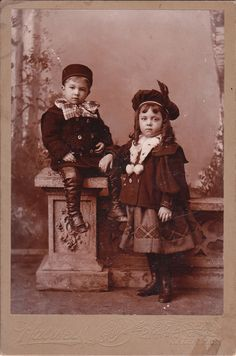 This cabinet card is a portrait of two adorable siblings posing for their portrait at a studio in Salem, Massachusetts. The photographer is S. S. Haswell
