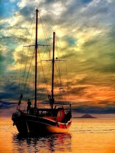 It's a Man's World - Ines Ali Khan - Aktuelle Bilder Old Sailing Ships, Boat Art, Boat Painting, Painting Art, Its A Mans World, Beautiful Sunset, Belle Photo, Beautiful Landscapes, Nature Photography