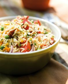 Orzo Salad with fresh peas, heirloom tomatoes and peppers