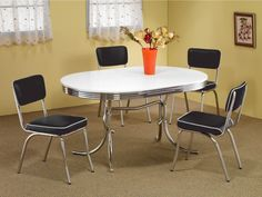 Shop for Vintage Nostalgic Bistro Design Chrome Base Dining Set. Get free delivery On EVERYTHING* Overstock - Your Online Furniture Shop! Get in rewards with Club O! Retro Kitchen Tables, Retro Dining Table, Dining Room Bar, Dining Table In Kitchen, Vintage Kitchen, Dining Rooms, Kitchen Chairs, Kitchen Ideas, Dining Tables