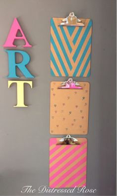 Pastel colour pop funky clipboard - fun stationary! by TheDistressedRose on Etsy https://www.etsy.com/listing/249500102/pastel-colour-pop-funky-clipboard-fun