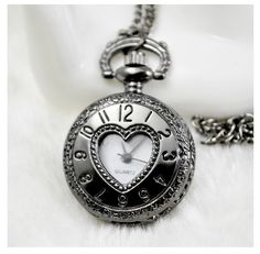 New  Arrive Small Size Black Heart Men Women Pocket Watch Necklace For Xmas Gift PS447