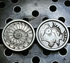 John Schipp: Stubby engraved buttons 'Nautilus Shell and Angler Fish', Everyday Carry Gear, Hobo Nickel, Coin Art, Nautilus Shell, Angler Fish, Knife Art, Challenge Coins, Edc, Polymer Clay