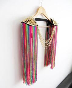 KUBA Gold (Silver Optional) Studed Tassel Epaulettes,Chain Epaulettes,Rainbow Festival Epaulettes,R Burning Man Fashion, Burning Man Outfits, Coachella Accessories, Edc, Color Secundario, Différents Styles, Squirrel Girl, All Fashion, Fashion Outfits