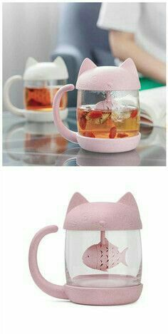 """Kawaii Kitty Fish"" Mug. By 'Youvimi'. Cute Water Bottles, Cute Cups, Geek Gadgets, Mug Cup, Crazy Cat Lady, Kitchen Gadgets, Things To Buy, Inventions, Tea Party"