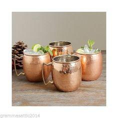 Moscow Mule Old Dutch Antiqued Vintage Style Hammered Copper Mugs 16-oz 4 Mug