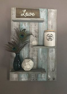 Teal and Gray Bathroom Lovely Teal and Gray Wall Shelf Wall Shelf Wall Decor Pallet Shelf Pallet Wall Shelf Bathroom Decor Bathroom Pallet Decor Bedroom Decor Pallet Wall Decor, Pallet Wall Shelves, Bathroom Wall Shelves, Reclaimed Wood Shelves, Diy Pallet Furniture, Diy Pallet Projects, Shelf Wall, Wood Shelf, Pallet Ideas