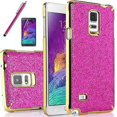 Samsung Galaxy Note 4 case, ULAK Fashion Luxury Colorful Glitter Snap-On Case for Samsung Galaxy Note 4 with Screen Protector and Stylus (Rosered+Gold Frame)